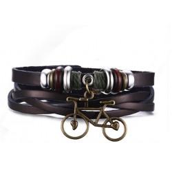 Bracelet en cuir Marron,...